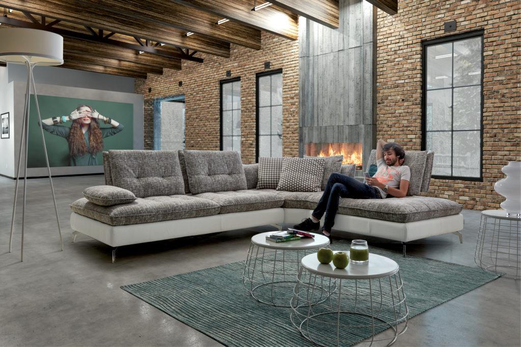 Canapé d'angle en tissus HomeSalons