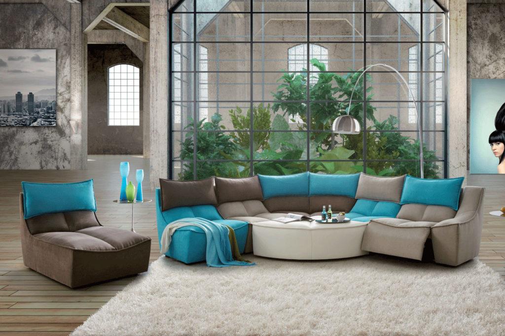 Canapé Modulable HomeSalons bleu, gris et marron dans un salon avec tapis